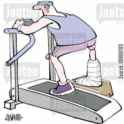 gym membership cartoon humor: Man on treadmill with one leg in a cast.