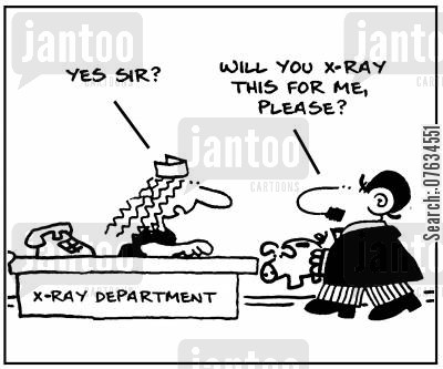 savings bank cartoon humor: X ray department.