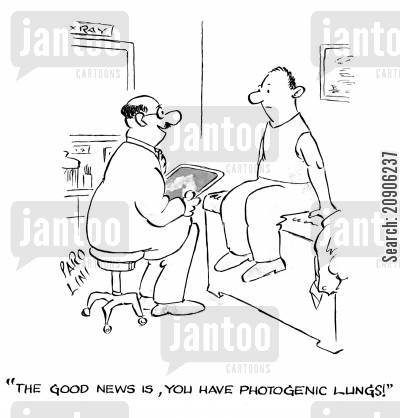 radiographers cartoon humor: 'The good news is, you have photogenic lungs!'