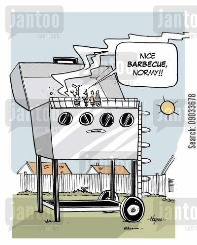 chargrill cartoon humor: 'Nice barbecue, Normy!!'