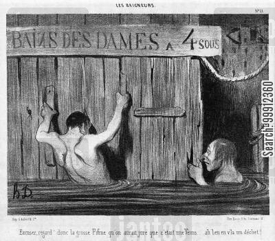 voyeurism cartoon humor: Men spying on bathing ladies