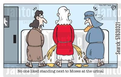 red sea cartoon humor: No one liked standing next to Moses at the urinal.