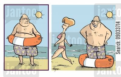 rubber ring cartoon humor: At The Beach.
