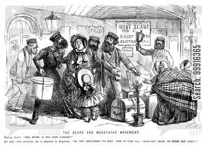 beard movement cartoon humor: The beard and moustache movement - lady approached by bearded railway guards thinks she is being attacked by brigands