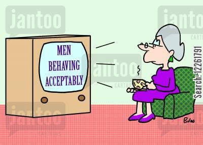 comedy cartoon humor: Men Behaving Acceptably.