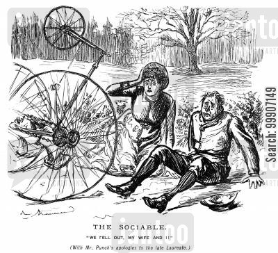 tricycles cartoon humor: A husband and wife who have fallen off of their bicycle