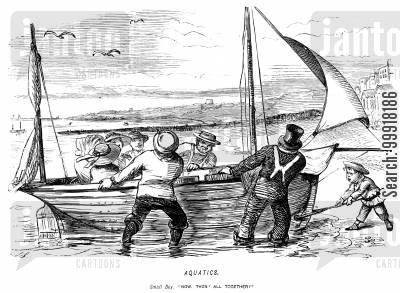 fishing boat cartoon humor: Small boy: 'Now then! All together!'