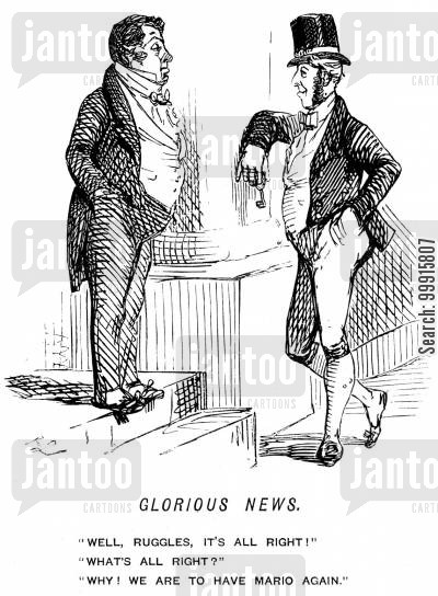 footman cartoon humor: Footman talking to butler