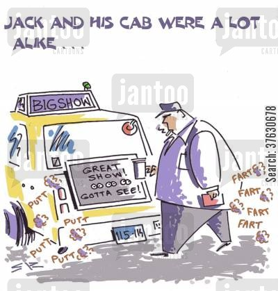 limo cartoon humor: Jack And His Cab Were A Lot Alike...