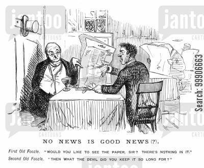 booths cartoon humor: Two men arguing over possession of a newspaper