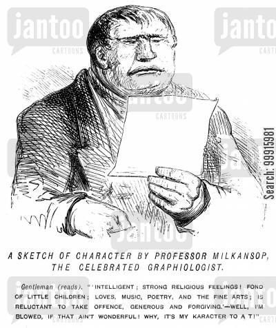 graphiologist cartoon humor: Man convinced by a flattering character sketch