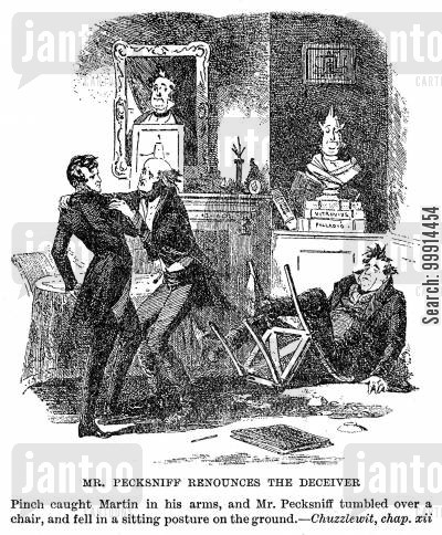 martin chuzzlewit cartoon humor: Mr. Pecksniff renounces the deceiver