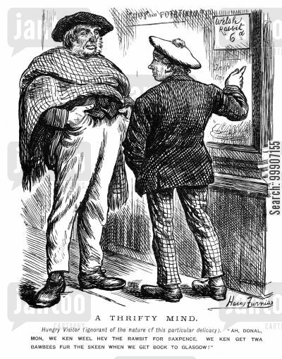 welsh rabbit cartoon humor: Two scottish gentleman debating over having Welsh rabbit