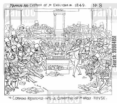punch magazine cartoon humor: Manners and customs of 'ye Englyshe', scene 3.
