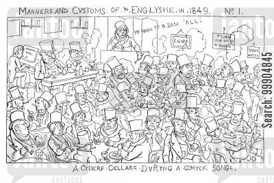 englishmen cartoon humor: Manners and customs of 'ye Englyshe', scene 1.