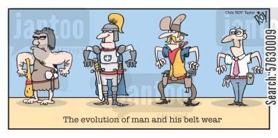 evolution of man cartoon humor: The evolution of man and his belt wear.