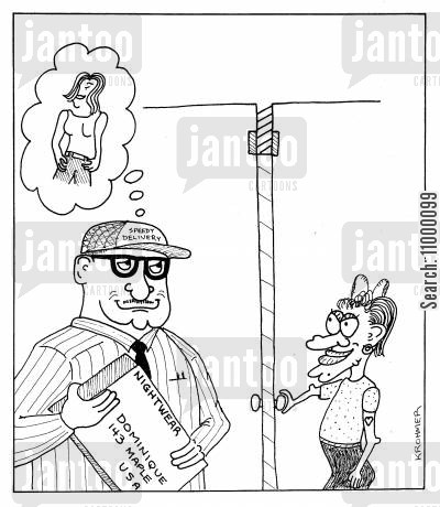 realities cartoon humor: Delivery Man fantasises of recipient of Lingerie