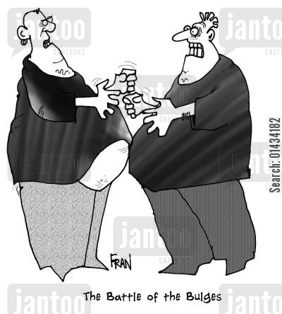 bulges cartoon humor: The battle of the bulges,