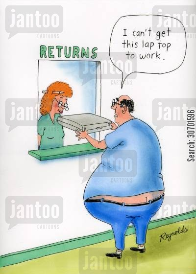 fat cartoon humor: 'I can't get this laptop to work.'