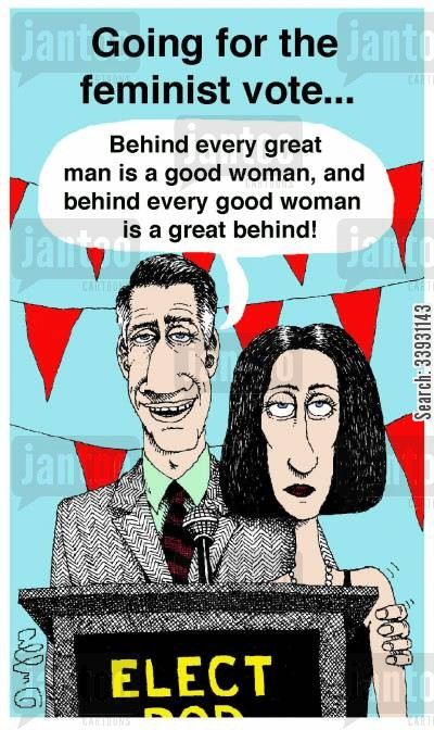 great man cartoon humor: Going for the feminist vote...