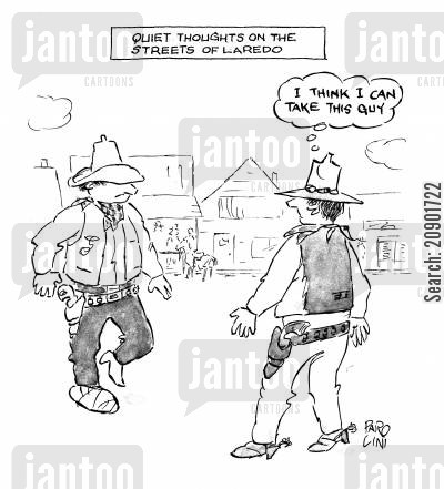 quiet streets cartoon humor: 'I think I can take this guy.'