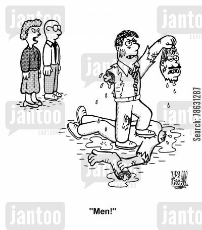aggression cartoon humor: 'Men!'