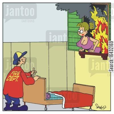 biased cartoon humor: The firefighter cares!