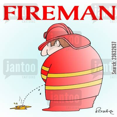 putting out fires cartoon humor: Fireman.