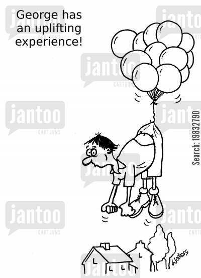 life changing experience cartoon humor: George has an uplifting experience.