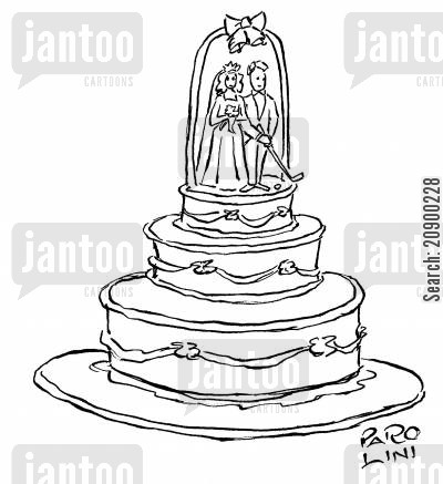 cake decoration cartoon humor: Plastic groom with a golf club.