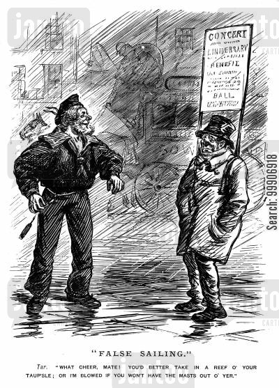 sandwich boards cartoon humor: A sailor giving a man some advice