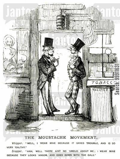 facial hair cartoon humor: Two men discussing thier moustaches