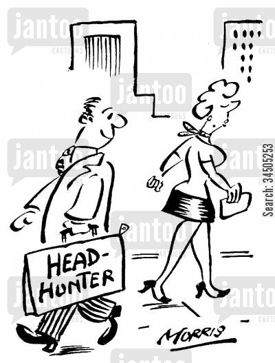 head hunter cartoon humor: Head-hunter staring at a lady.