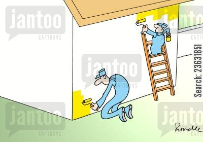 ladders cartoon humor: 'Two painters, one tall, one short, painting a wall.'