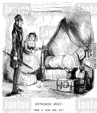 guest house cartoon humor: Extremes meet - A very tall guest is shown to a short bed.