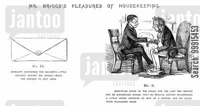 building work cartoon humor: Mr Briggs's Pleasures of Housekeeping - No. IX and X