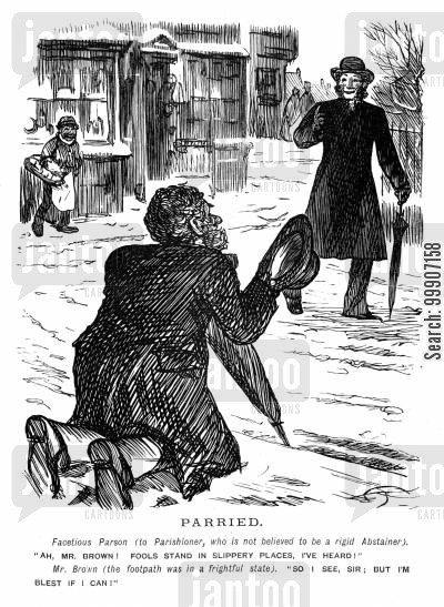 iced cartoon humor: A man having difficulty standing up on the icey path