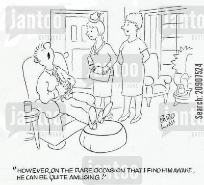 lazy husbands cartoon humor: 'However, on the rare occasion that I find him awake, he can be quite amusing.'
