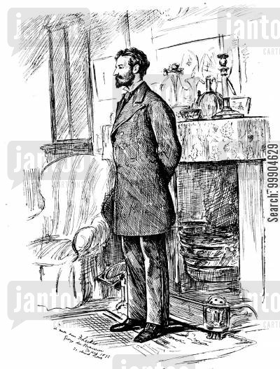 victorian man cartoon humor: Portrait of Frederick Locker.