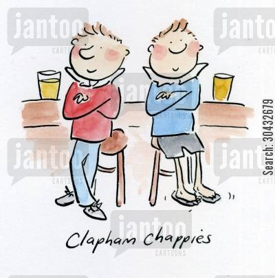 clapham cartoon humor: Clapham Chappies.