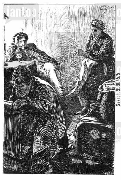 luggage cartoon humor: Victorian men packing.