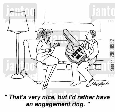 no cartoon humor: 'That's very nice, but I'd rather have an engagement ring.'