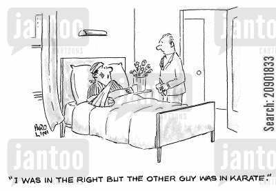 sustain injury cartoon humor: 'I was in the right, but the other guy was in karate.'