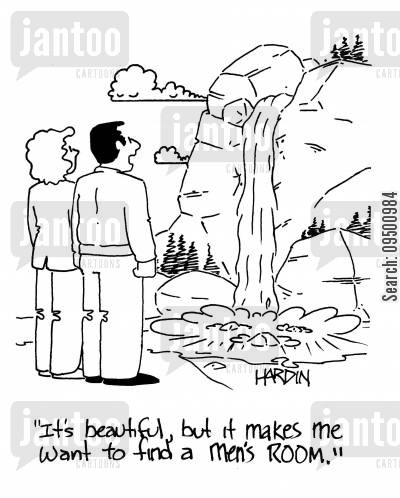 flow cartoon humor: 'It's beautiful, but it makes me want to find a men's room.'