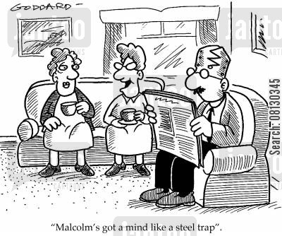 crosswords cartoon humor: Malcolm's got a mind like a steel trap.