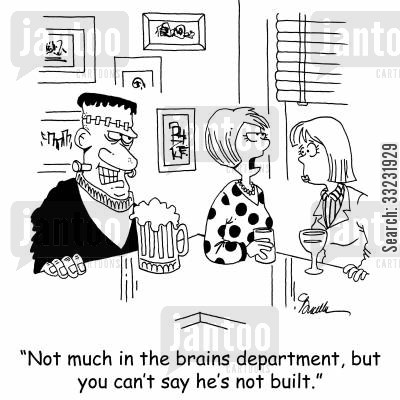 heavy weight cartoon humor: 'Not much in the brains department, but you can't say he's not built.'