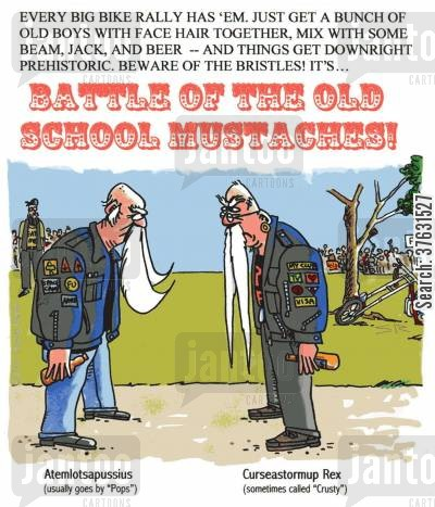 mustaches cartoon humor: Battle Of The Old School Mustaches.