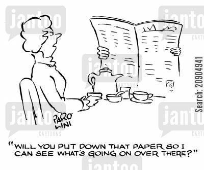nosy wife cartoon humor: 'Will you put down that paper so I can see what's going on over there?'
