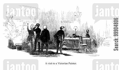 victorian painters cartoon humor: A visit to a Victorian Painter.
