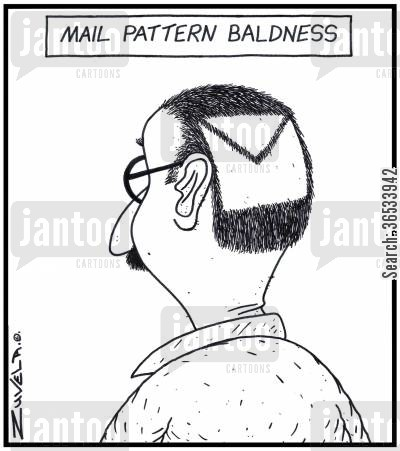 hairlessness cartoon humor: Mail Pattern Baldness - A man with a bald patch in the form of a mailing envelope.